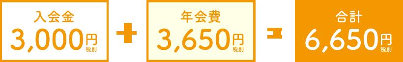 入会金3,000円+年会費3,650円=合計6,650円(税別)